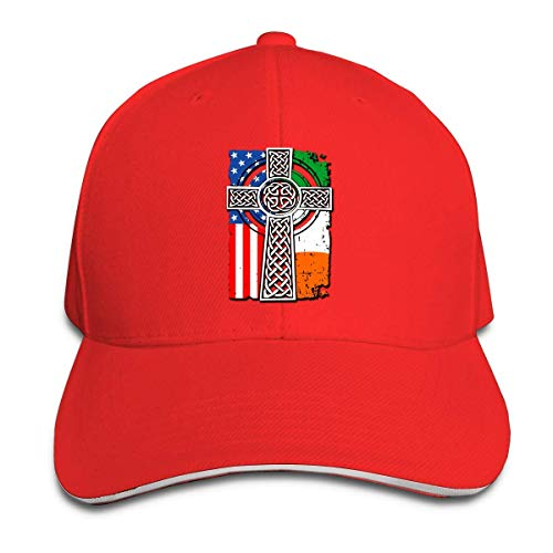 Zhgrong Caps Hhill Swater Irish American USA Flag Celtic Cross St Patrick's Day Unisex Trucker Cap Cute Baseball Hats Dad Hat, Adjustable Outdoor Sport Hats Cap Fitted Hats Fitted Hats (Kostüme Cute Cowgirl)