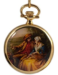 Bernex Swiss Made Gold Plate Ladies Pendant Watch+ Chain(Painted Couple design Back)