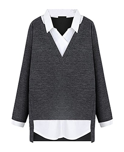ZKOO Chemise pour Femme Tee Shirt Col V Pull Large Sweat Top Blouse Casual Sweatshirt Gris