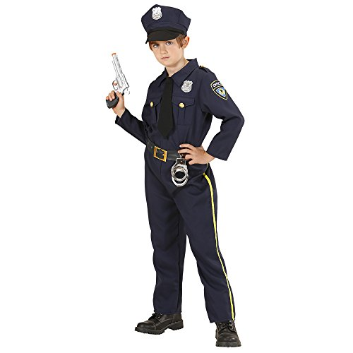 Widmann 76556 - Kinder Kostüm Polizist, Hemd mit Schlips, Hose und Mütze, Größe 128 (Polizisten Kostüm Kinder)