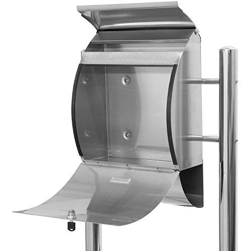 Hochwertiger V2A Edelstahl Standbriefkasten mit Zeitungsfach, 126 cm hoch, Gewicht 7 kg - 4