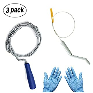 Kungfu Mall Flexible Drain & Waste Pipe Unblocker Drain Auger Blocked Plug Drain Hole Unblocker Sink Drain Waste for Tub, Sink, Shower, Basins and Pipes, Along with Cleaning Hook and Gloves