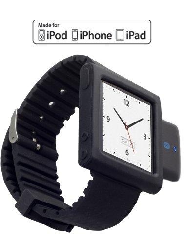 KOKKIA i10sWatch: Die ultimative Armbanduhr. Tiny i10s (in luxuriösem Schwarz) Bluetooth iPod Transmitter mit schwarzem iPod Nano 6G Armband (iPod Nano nicht enthalten). Ipod Nano 3. Generation Armband