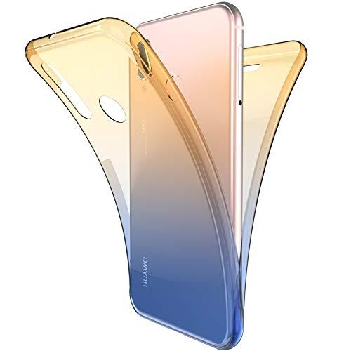 Coque Huawei P20 Lite,ikasus Intégral 360 Degres avant + arrière Full Body Protection Couleur de dégradé Transparente Silicone Gel TPU Souple Housse Etui Case Coque pour Huawei P20 Lite,Bleu Jaune