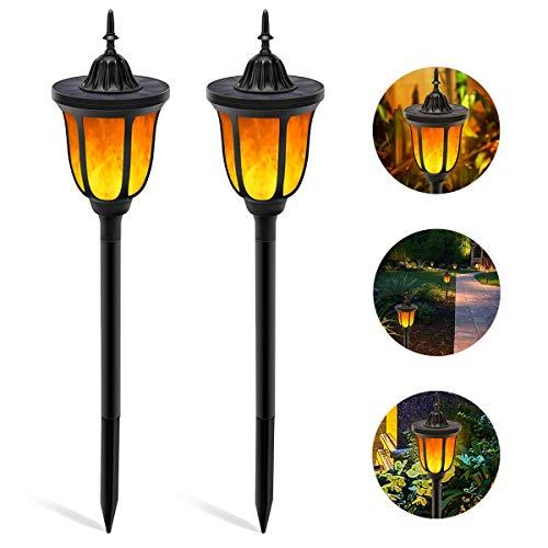 B-right 2x Led Gartenleuchten solar Fackeln Flamme Lampe mit 96 Leds (Licht Sensor), IP65 Wasserdicht Gartenlampe Gartenbeleuchtung mit Erdspieß Außen für Garten, Hof, Terrasse