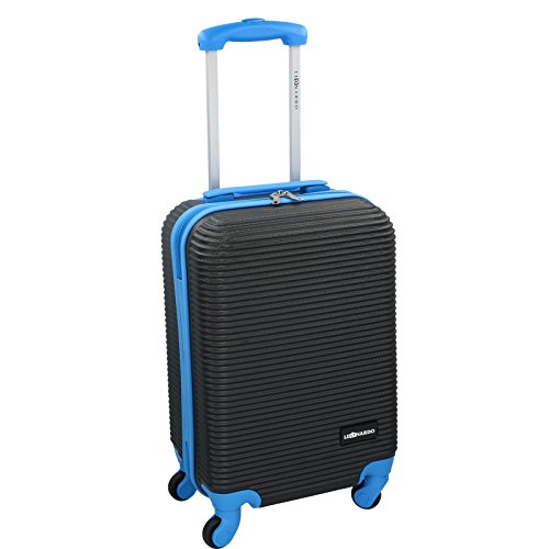 Handgepäck Trolley - 31 Liter von JEMIDI mit 4 Rollen in tollen Trendfarben!!! Boardcase Reise Koffer Hartschale Cabin Bordgepäck Bag Bord (Schwarz / Lila) Schwarz / Blau