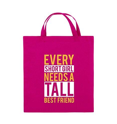 Comedy Bags - Every short girl needs a tall best friend - Jutebeutel - kurze Henkel - 38x42cm - Farbe: Pink / Gelb-Weiss (Tall-jersey-shorts)