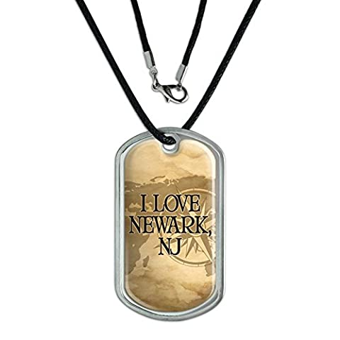 Dog Tag Pendant Necklace Cord City State La-No - Newark NJ