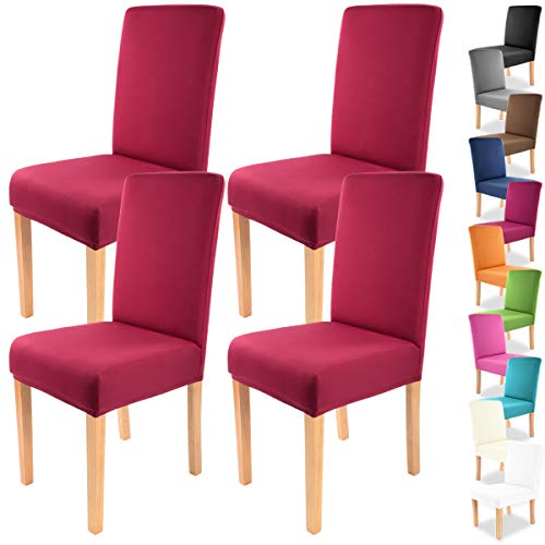 Gräfenstayn 4pcs Fundas para sillas elásticas Charles - respaldos Redondos y angulares - Paquete Benefit - Ajuste bi-elástico con Sello...