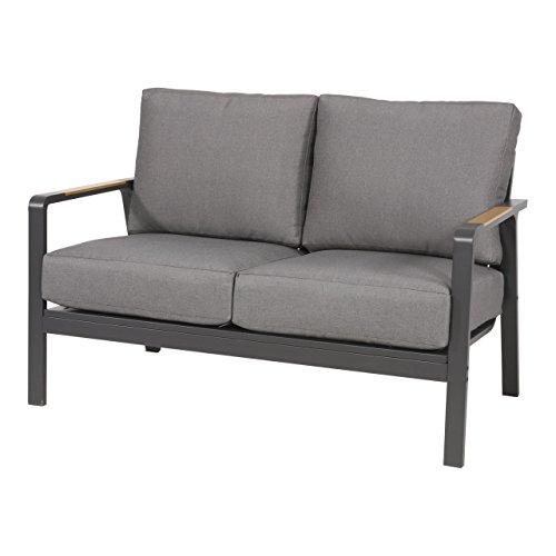 Gartenbank 2-Sitzer aus Alu in anthrazit und Teak-Optik inkl. Kissen in grau. Die Loungebank ist wetterfest, ideal für Garten, Terrasse und Balkon.