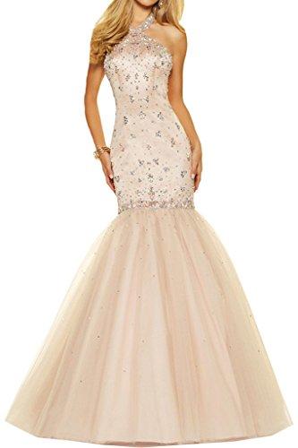 Promgirl House Damen Luxsurioes Meerjungfrau Abendkleider Ballkleider Cocktailkleider Hochzeits Lang Champagner