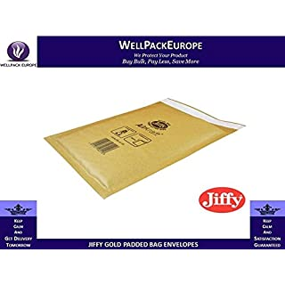 **MULTI-SIZE** 50 x STRONG JIFFY AIRKRAFT GOLD PADDED ENVELOPES BAGS - **CHOOSE YOUR SIZE INSIDE THIS LISTING** - JIFFY GOLD PADDED ENVELOPES BAGS - *** NEXT DAY UK DELIVERY *** VISIT Our Exciting Amazon Packaging Catalogue - Search > Wellpack Europe < (JL00 (115MM x 195MM))