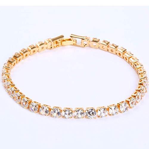 lonfenner Kristall Armreif,Kristall Armband, 4Mm Kristall Zirkonia, 19 cm Herren Und Damen Armband, Gold-Schmuck, Weihnachten Geschenk