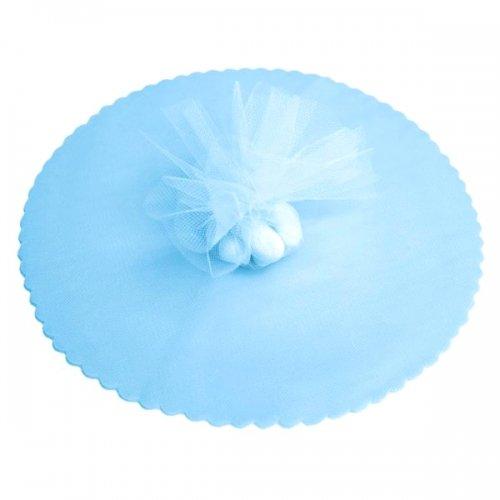 100x velo veli di fata tulle organza tondo veletti bomboniere fai da te confetti (celeste)