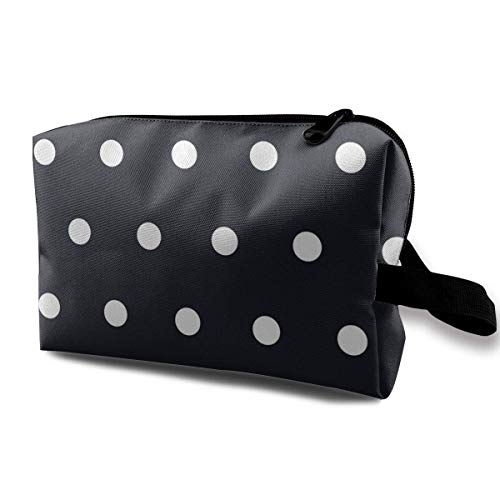 Polka Dot White Black Toiletry Bag Waterproof Fabric Cosmetic Bags Travel Case For Women's Accessories (Leuchten Dot Polka)