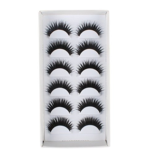 Thick Black TAIWAN Tips Natural Smoky Makeup Long False EyeLashes 1 Box 6 Pairs