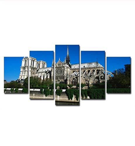 Jishii Paris Art Painting Home Decoration for Living Room Wall Home Weak Solvent Canvas Painting Five Pieces Set-A -