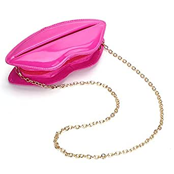 Hot Fashion Lady Evening Party Lips Clutch Chain Patent Leather Shouder Bag