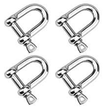 DESON 4Pcs D Shackle M10 Stainless Steel D Ring Shackle Lock for Hauling Steel Chain Link Wire Rope Cable Thimbles Rigging