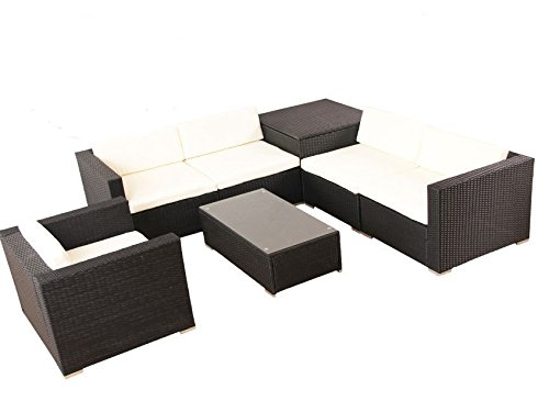 POLY RATTAN Lounge Gartenset Schwarz Sofa Garnitur Polyrattan Gartenmöbel inkl. Kissenbox - 2