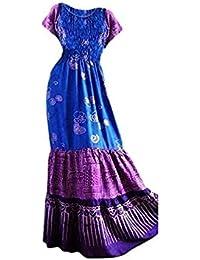 Cool Kaftans SALE New 3 TIER Blue Purple Long Dress Batik Gypsy Boho Beach 1 2 14 16 18 20 20 Cool Kaftans