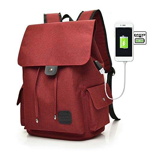 Teimose 15.6inch Laptop Backpack with USB Charging Port, iCasso Lightweight Functional Durable Nylon Travel Notebook Computer Bag Casual Daypack Rucksack for Men & Women (RED) -