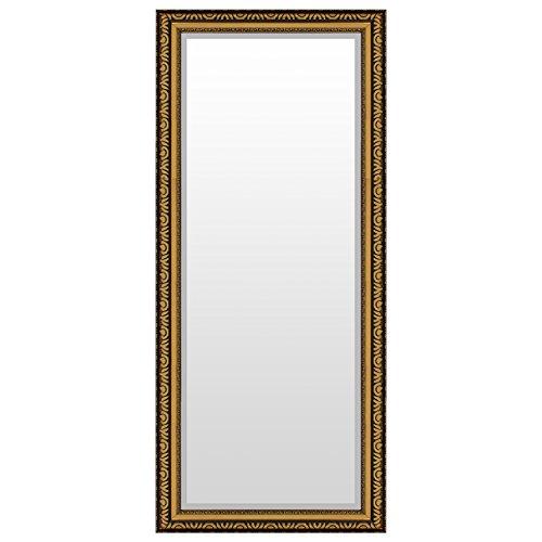 Prachtvoller Wandspiegel Flurspiegel Garderobenspiegel Frisierspiegel Spiegel mit Facettenschliff und Verzierungen 140x60cm - Gold