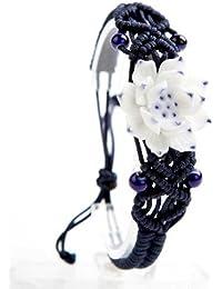findout Jingdezhen fleur fleurs bracelet en céramique tissé à la main (F165)