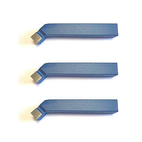 3 Stück 45° Drehstahl 10 x 10 mm - Drehmeißel mit Hartmetall - Qualität für Stahl - DIN4972