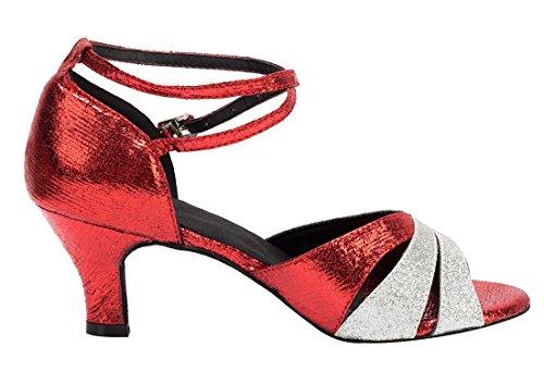 TDA - Peep-Toe donna 6cm Heel Red Silver