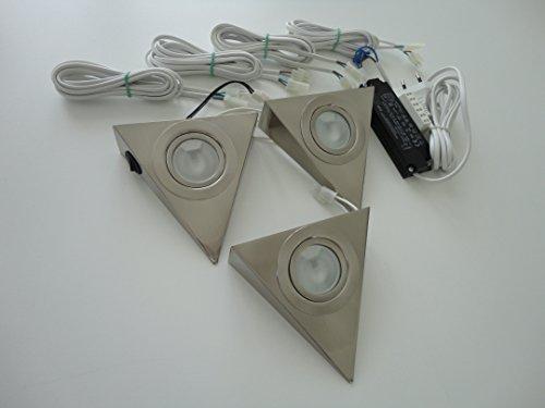 Küche Dreieckleuchte Halogen 3 x 20W mit Zentralschalter 3er Kompl.-Set