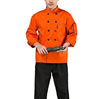 Nanxson(TM) Woman Hotel/Kitchen Uniform Long Sleeved Chef Vest CFW1003 (L, orange)