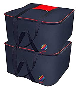SNDIA Large Underbed Clothes Blankets Storage Bag with Zippered Closure (SET OF 2)