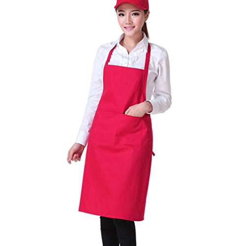 Gloryhonor colore solido posteriore self-tie cucina ristorante cucina grembiule con tasca, Poliestere, Black, taglia unica Rose