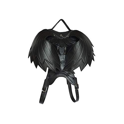 GAL Duradera Alas en Forma de corazón Mochila Bolso Femenino Negro Steampunk gótico Rock Locomotora Motocicleta Europa y los Estados Unidos Personalidad Viajes al Aire Libre PU ángel Refinado