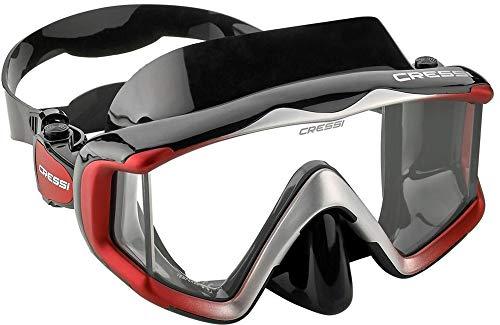 Cressi Unisex- Erwachsene Liberty 3 Windows Tauchmasken Schwarz/Rot/Silber Uni
