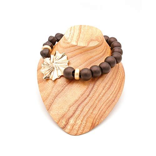 Halskette mit Perlen oder Kugeln mit unregelmäßiger Blume aus vergoldetem Metall und Zwei Unterlegscheiben an Einer Seite, Schwarz - Schwarz - Größe: Einheitsgröße