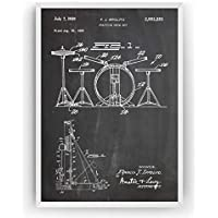 Kit de batería 1959 Poster de Patente - Drum Kit Set Patent Póster Con Diseños Patentes Decoracion de Hogar Inventos Carteles Prints Wall Art Posters Regalos Decor Blueprint - Marco No Incluido