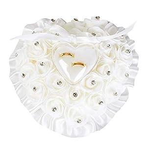 Hochzeit Ringkissen weiß Herzform mit Rosa Blumen Strass Kristall Deko Personalisiert Ehering Träger Kissen Hochzeitsringkissen für Brautpaar