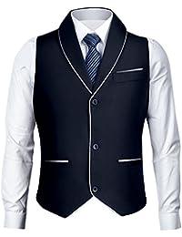 Zicac Herren V-Ausschnitt Slim Fit Weste ärmellos 3 Button Down Kleid Weste Business Anzug Weste