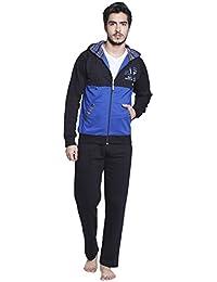 Valentine Men's Black-Blue Fleece Jacket & Pyjama