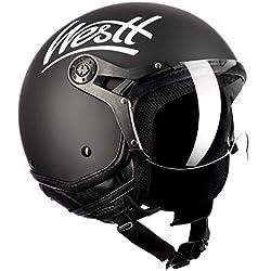 Westt® Classic X · Casque Moto Jet Vintage en Noir Mat pour Scooter Chopper · Casque de Moto Homme et Femme Demi-Jet · ECE Homologué