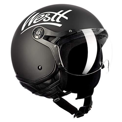 Westt Classic X · Casco Jet Vintage Moto Nero Opaco Scooter Motorino Chopper · Casco Moto Donna e Uomo Demi Jet · Omologato ECE