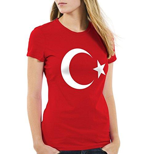 CottonCloud Türkei Damen T-Shirt Turkey Türkiye Flagge Mondstern, Farbe:Rot;Größe:XL