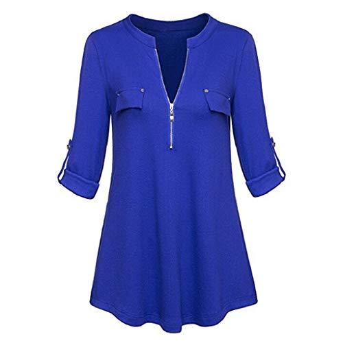 Sasstaids Sommer heißes Kleid,Mode lässig Womens V-Ausschnitt Langarm Roll-up Ärmel Reißverschluss Shirt Bluse Tops