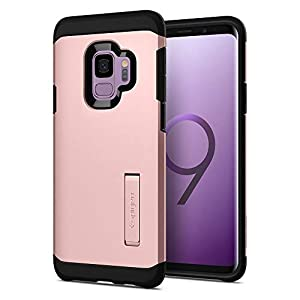 Spigen Galaxy S9 Case [Tough Armor] Reinforced Kickstand Heavy Duty Protection Air Cushion Technology Galaxy S9 Cover - 592CS22847 [Rose Gold]
