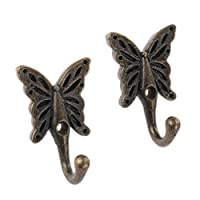 2Pc Antique Wall Door Mounted Butterfly Patterned Coat Hook Clothes Towel Hanger