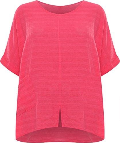 WearAll Damen Plus Leinen Taschentuch Saum Top Damen Ausgebeult Übergroß Kurz Batwing Hülle - Kirsche - 52-54 (54 Kirsche)