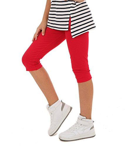 AlexFashion 3/4 Farbige Leggings für Mädchen Kurze Legings Kinder Hose Frühling Sommer Gr. 116-164 (140-146, Rot) (Mädchen Herz Leggings)