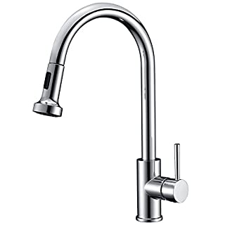 Avola Pull Out Kitchen Tap Single Lever Handle Kitchen Sink Mixer Tap Swivel Spout Dual Functional Sprayer, Chrome